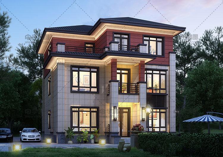 11x14米三层新中式别墅设计图纸