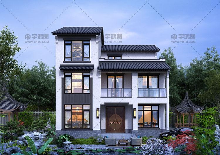 三层新中式带复式客厅别墅图纸