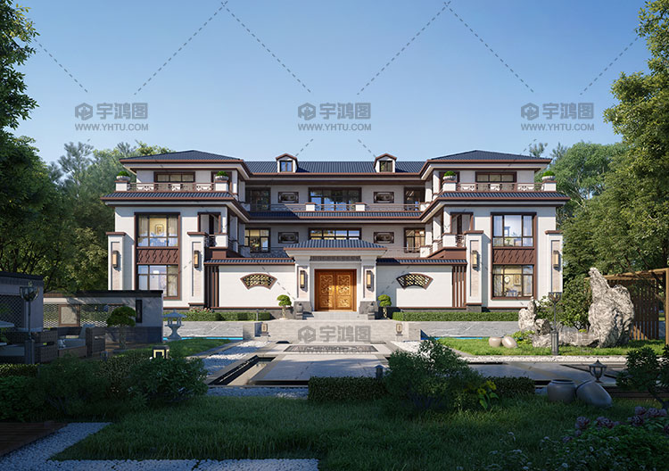 占地383平双拼新中式别墅设计图纸
