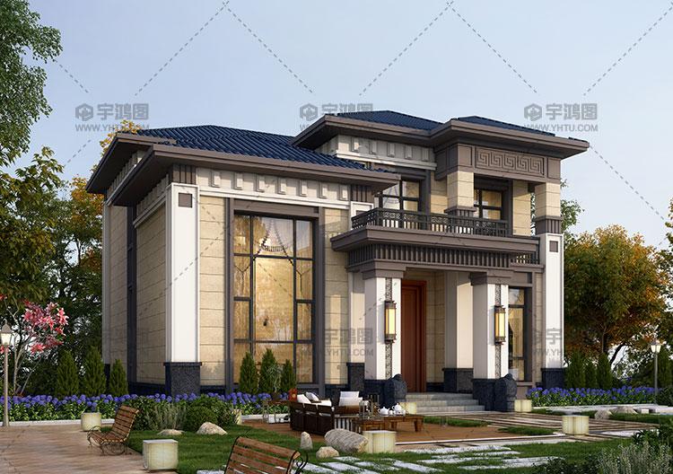 二层带复式客厅新中式别墅设计图纸