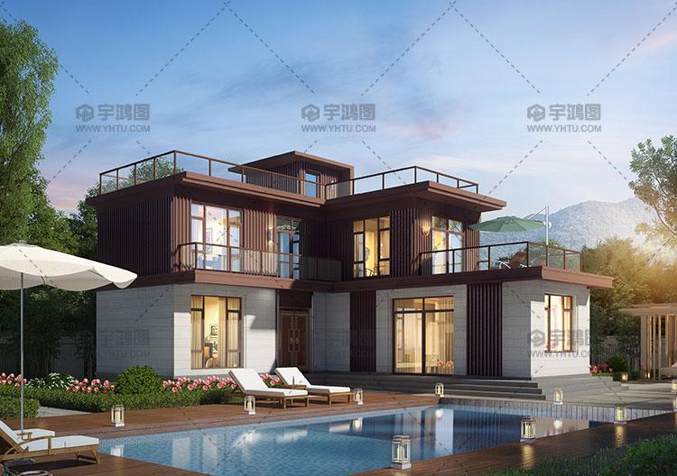 108平L型两层现代别墅设计图纸