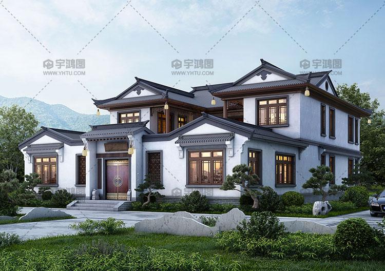 330平农村二层中式小三合院设计图纸