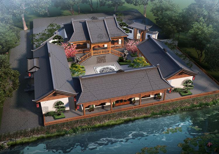 27x27米中式四合院别墅设计图纸