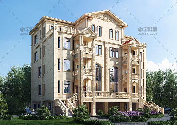 340平四层欧式双拼别墅设计图纸