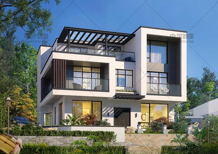 210平三层现代风格别墅图纸带复式客厅