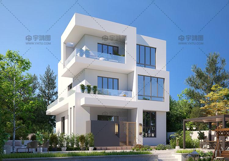 9米小开间三层现代风别墅设计图
