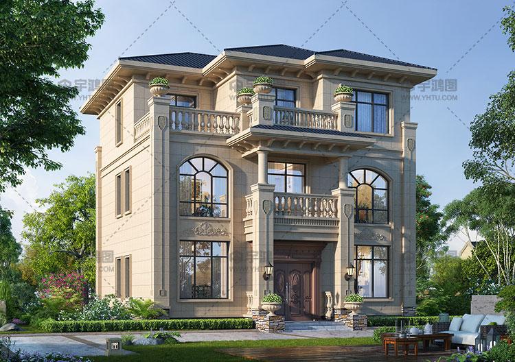 占地130平带大露台欧式别墅设计图